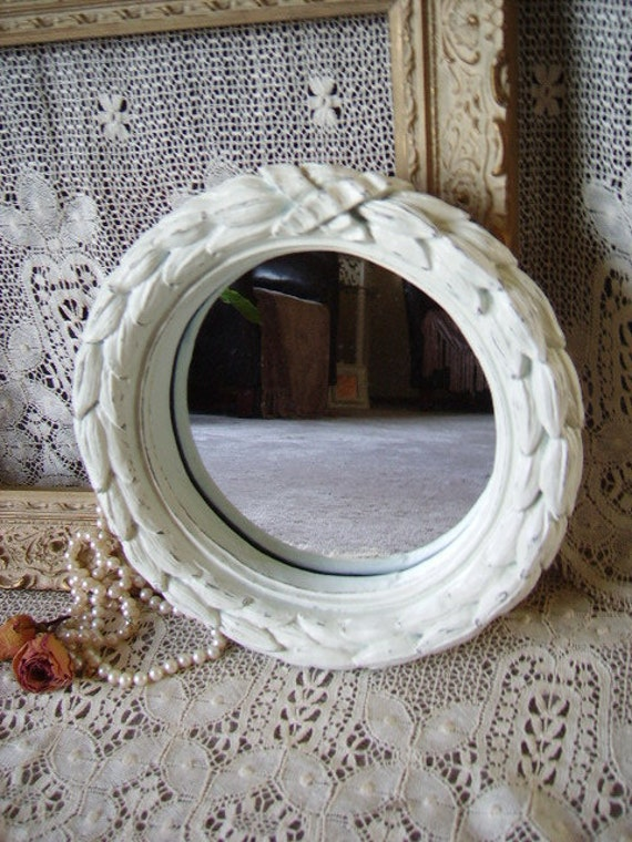 French Country Cottage Mirror, round, painted, creamy white, distressed