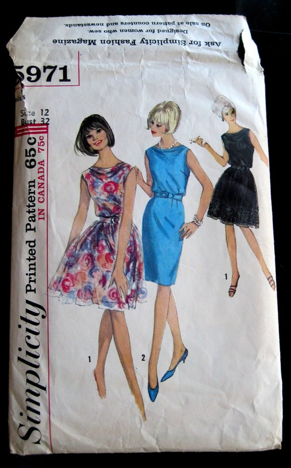 Simplicity 5971 Misses 1960s Dress Pattern Sheath or Full Skirt Blouson Sleeveless Cowl Collar Sheer Fabrics Velvet Mohair Bust 32