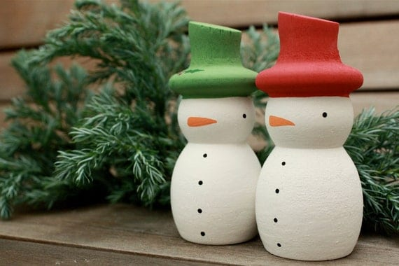 Hand Painted Wooden Christmas Snowmen Decorations - set of two