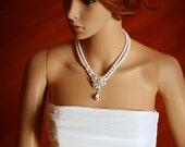 ZINNIA, Bridal Necklace, Rhinestone Flower Wedding Bridal Necklace, Crystal and Pearl Wedding Necklace, Vintage Inspired Bridal Jewelry