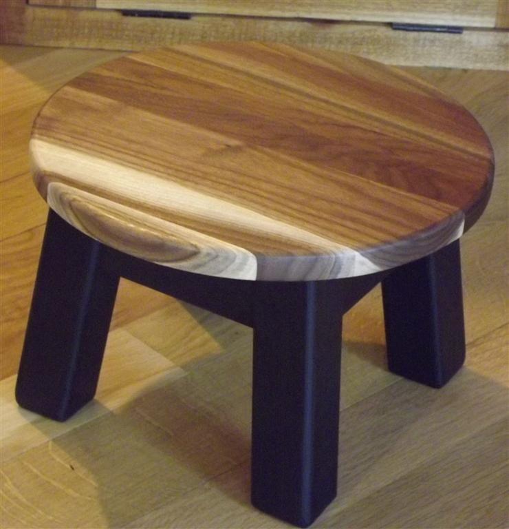 Walnut Reclaimed Wood Modern Round Foot Stool Step Stool