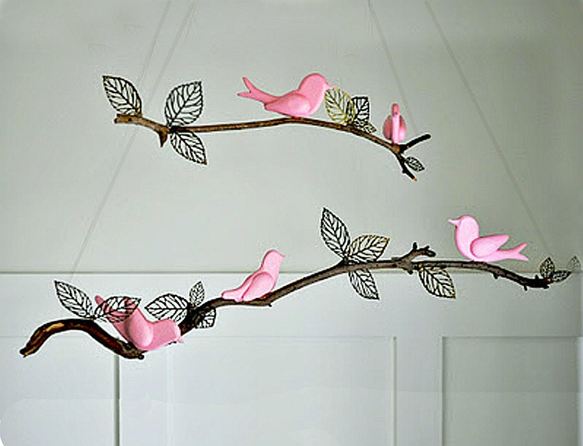 Nursery mobile diy 5 hand carved birds ready to finish for Bird mobiles for nursery