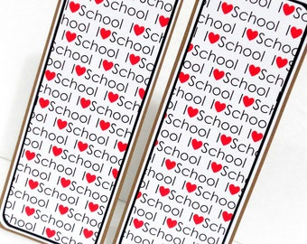 CLEARANCE-Paper Bookmarks: I Love School Set of 2- approx. 2 1/2 x 7 inches