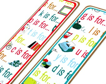 CLEARANCE- Alphabet: Paper Bookmarks Set of 2- approx. 2 1/2 x 7 inches