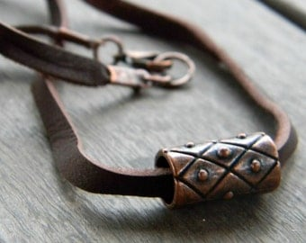Copper Necklace Leather Cord Necklace Handmade Men's Jewelry 7th Anniversary Gift Leather Cord Graduation Gift For Him Fathers Day Mens
