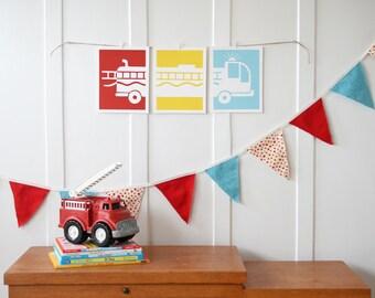 Fire Engine Nursery Art Prints