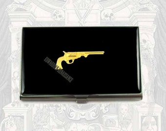 Metal Business Card Case Steampunk Pistol Inlaid in Hand Painted Enamel Neo Victorian Revolver Custom Colors and Personalized Options