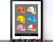 Bike Art Print, Tour de France, Classic Cycling Caps Print