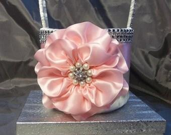 Flower Girl Basket / Ivory Flower Girl Basket / Light Pink Trim and Rhinestone Mesh Handle Trim / Bling Flower Girl Basket