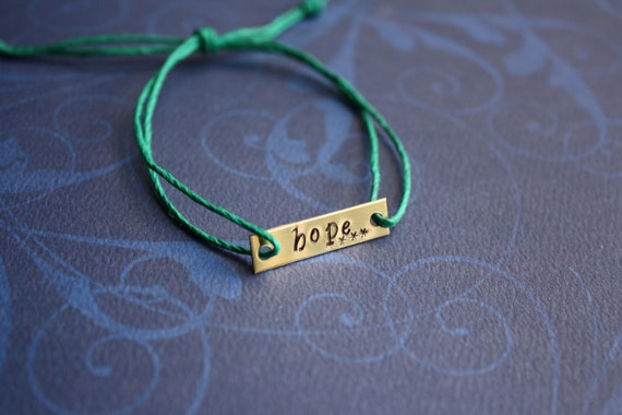 Custom Hand Stamped Brass Rectangle Charm Hemp Bracelet- (Pick your own Color and Phrase)