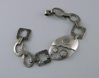 Handmade Sterling Silver Bracelet, Silver Link Bracelet, Large Silver Bracelet, Statement Bracelet, Men's Bracelet, Gift for Men, Masculine