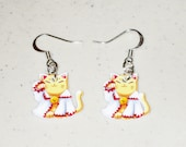 Maneki Neko ( Lucky Cat ) White Mage ( Final Fantasy ) Earring Set