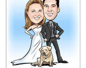 Caricature Save-the-Date, Wedding Invitation Cards, Postcards, Magnets