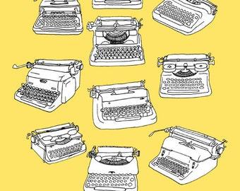 Illustration of Vintage Typewriters 8.5 x 11
