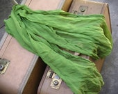 Long Green Sheer Vintage Scarf