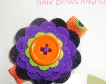 HALLOWEEN FELT FLOWER Black Purple Lime Orange Hair Clip Babies Toddlers Girls