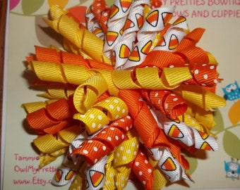 CANDY CORN Halloween Fall Korker Bow Infant Toddler Girl