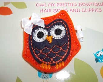 Denver Broncos - Chicago Bears -  Football Navy Blue Orange Felt Owl Hair Clip Baby Toddlers Girls