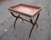Bombay Plant Stand or Side Table, Handpainted Tray, Brass trim