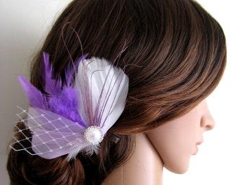 Wedding Bridal White Purple Lilac Feather Pearl Rhinestone Jewel Veiling Head Piece Hair Clip Fascinator Accessory