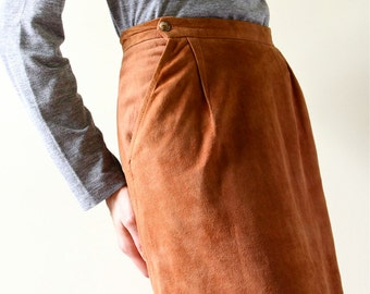70s Chestnut Suede Wiggle Pencil Skirt leather high waist midi office boho hippie sienna brown simple minimalist skirt
