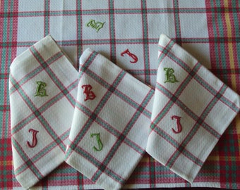 4 Vintage French Napkins Monogram BJ Red Green & Yellow Check Plaid Gingham Perfect for a Country KItchen