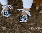 Black Lace on White Vintage Baby Shoes Ballerina Slippers