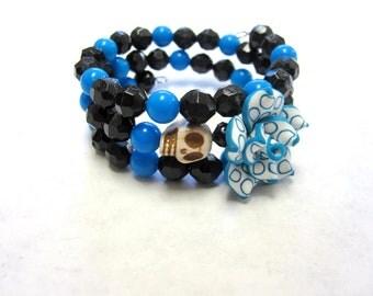 Skull Bracelet Day Of The Dead Jewelry Flor de Muertos Itty Bitty Pretties Black Blue