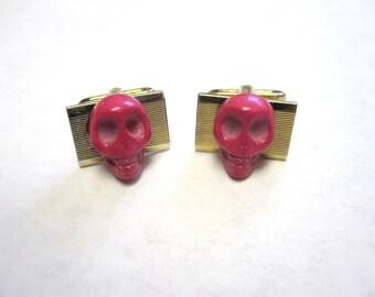 Skull Cufflinks Day Of The Dead Cuff Links Wedding Accessory Mens Pink Skull Jewelry