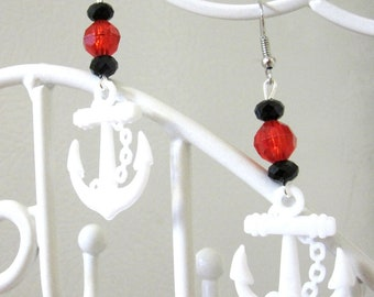 Anchor Earrings Nautical Dangle Black Red White