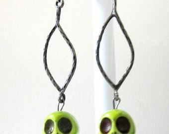 Sugar Skull Earrings Day Of The Dead Green Dangle