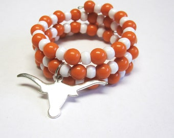 Texas Longhorn Bracelet Orange White Beaded Wrap Cuff