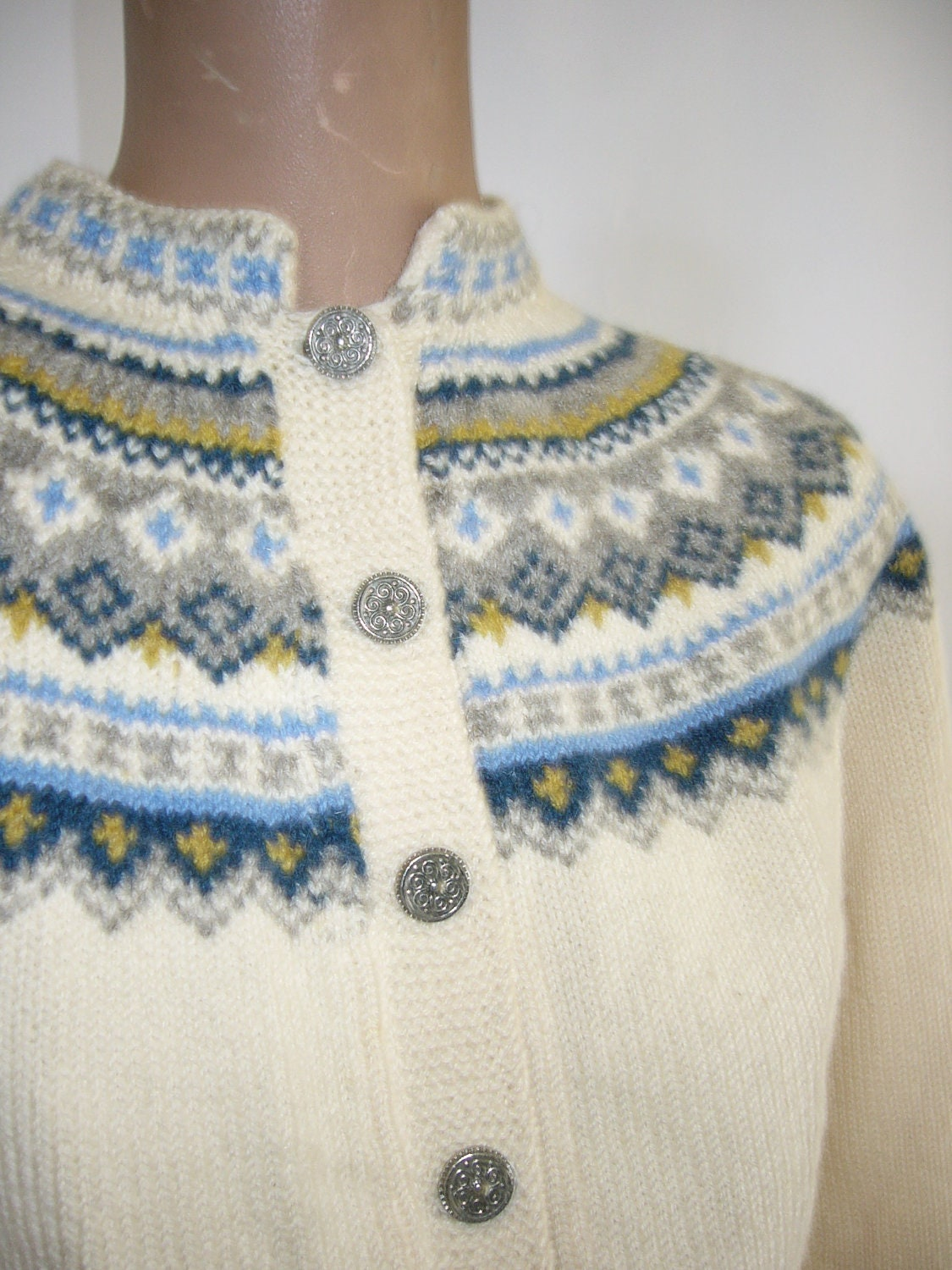 Hand Knit Norwegian Cardigan Sweater Pewter Buttons Hilda Ege