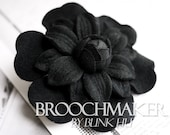 110mm wool felt sunflower Dahlia fabric flower corsage brooch pins Black by Etsy