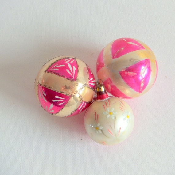 Handpainted Hot Pink Glass Christmas Ornaments, Set of Three (3)