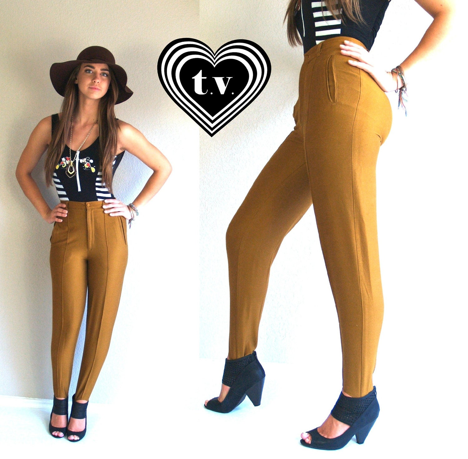 Vtg 90s Tight Marigold High Waist Stirrup Pants Skinny Xs