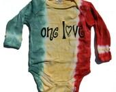 ON SALE rasta tie dyed one love long sleeve bodysuit