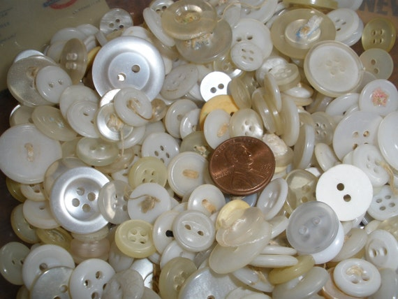 "Reclaimed Antique Vintage White Buttons -2 ounce lots 1/4"" to 3/4"" Altered Art sewing crafts Jewelry Scrapbooking Upcycle plastic FREE SHIP"
