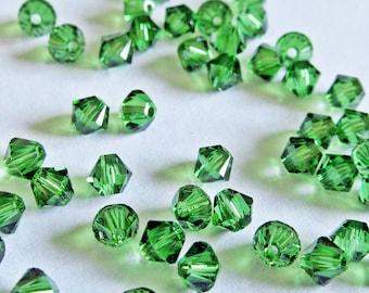 Swarovski Fern Green Crystal Bicone  4mm Xilion Qty 24