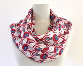 Womens Scarf Long Scarf Floral Scarf White Blue Red