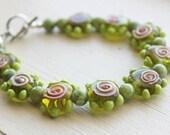 SALE: Pink and Green Lampwork Bracelet