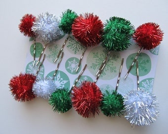 EARLY BIRD SALE--15% off--Christmas Pom Pom Clips--Set of 12.
