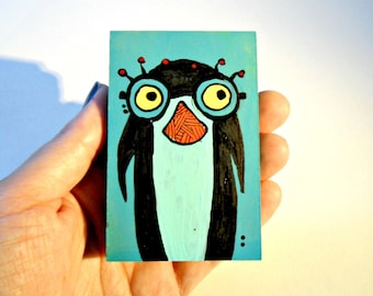 Penguin with Glasses colorful wood art blocks