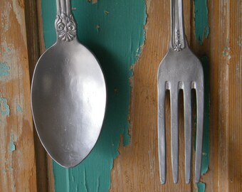 Fork and Spoon Wall Art Oversize Kitchen Art Fork and Spoon Silver painted /  Unique Gift / Utensil Art