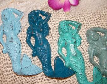 SALE Mermaid Wall Hook / Wall Art / Ocean Theme Nautical / Choose Blue, Teal, Turquoise Green or Jade / Beach Decor-Shabby Cottage