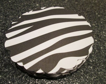 25 Black & White Zebra Scalloped Circle Punches Die Cuts Embellishments 3 inch --