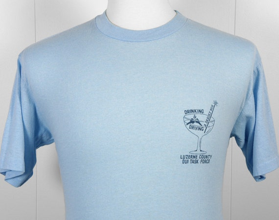 Vintage 1980's DUI Task Force T-Shirt - Drinking & Driving, A Deadly Mix, Size M / L