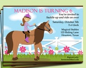 Horse Riding Invitation Printable or Printed with FREE SHIPPING- Western, Farm, Cow Girl - You Pick Hair Color/ Skin Tone