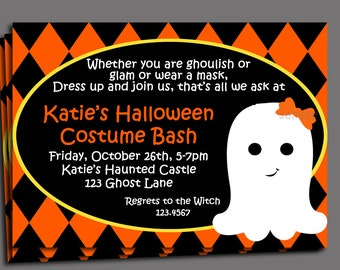 Halloween Kid's Costume Party Invitation Printable or Printed with FREE SHIPPING - Friendly Ghost Collection