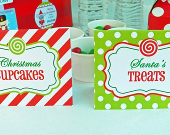 Christmas Party Tent Style Labels Cards Printable - Magic of Christmas Collection
